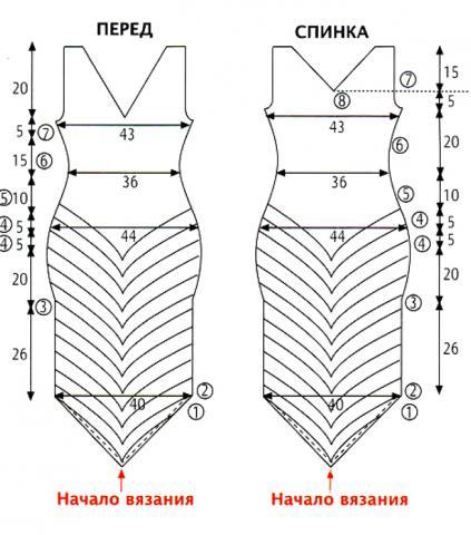 Схема вязания черно-белое платье с диагональными полосками раздел вязание спицами для женщин платья, сарафаны для женщин