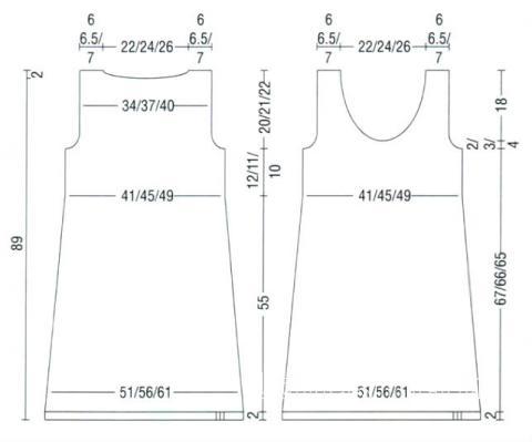 Схема вязания черный сарафан с большим вырезом раздел вязание спицами для женщин платья, сарафаны для женщин