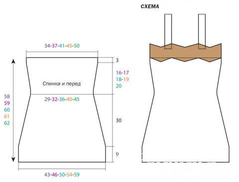 Схема вязания короткий сарафан на широких бретелях раздел вязание спицами для женщин платья, сарафаны для женщин