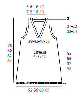 Схема вязания меланжевая туника без рукавов раздел вязание спицами для женщин платья, сарафаны для женщин