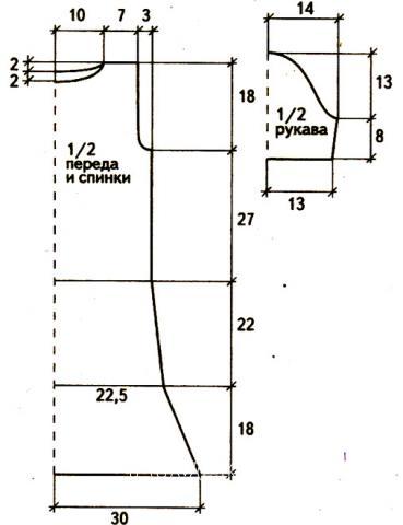 Схема вязания платье до колена с ажурными дорожками раздел вязание спицами для женщин платья, сарафаны для женщин