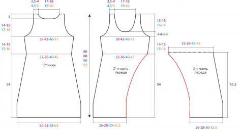 Схема вязания платье-сарафан с разрезом раздел вязание спицами для женщин платья, сарафаны для женщин