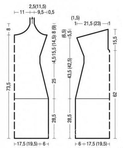 Схема вязания полосатое платье сарафан с открытой спиной и вырезом капля раздел вязание спицами для женщин платья, сарафаны для женщин