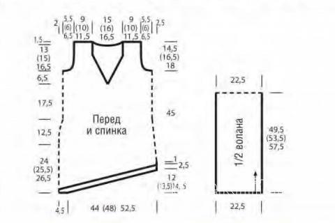Схема вязания полосатое платье-сарафан со скошенной линией низа раздел вязание спицами для женщин платья, сарафаны для женщин