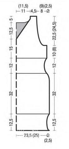 Схема вязания приталенное платье с цветным узором на талии раздел вязание спицами для женщин платья, сарафаны для женщин