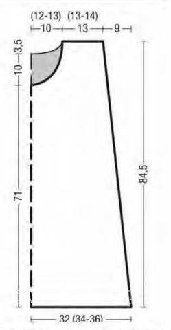 Схема вязания сарафан с контрастной отделкой и накладными карманами раздел вязание спицами для женщин платья, сарафаны для женщин