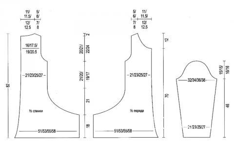Схема вязания свободная туника с асимметричным краем раздел вязание спицами для женщин платья, сарафаны для женщин