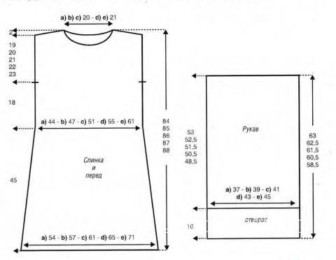 Схема вязания свободное платье с широкими рукавами раздел вязание спицами для женщин платья, сарафаны для женщин