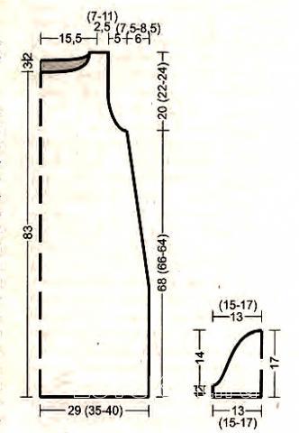Схема вязания свободное платье с зигзагом по подолу раздел вязание спицами для женщин платья, сарафаны для женщин