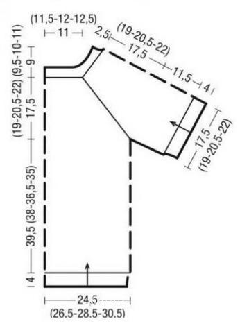 Схема вязания туника с центрльной ажурной полосой раздел вязание спицами для женщин платья, сарафаны для женщин