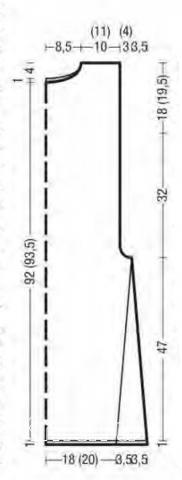 Схема вязания туника с высоким воротником и боковыми разрезами раздел вязание спицами для женщин платья, сарафаны для женщин