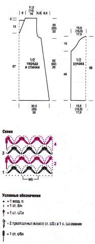Схема вязания удлиненный пуловер или мини-платье раздел вязание спицами для женщин платья, сарафаны для женщин