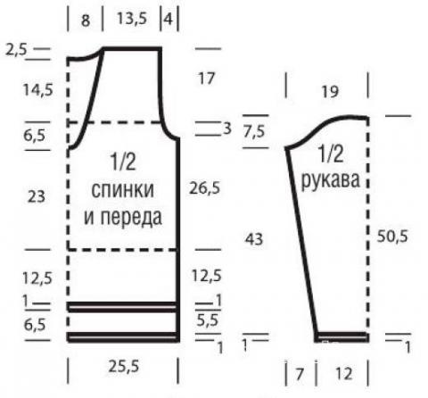Схема вязания ажурная кофта с удлиненной спинкой раздел вязание спицами для женщин кофты спицами женские