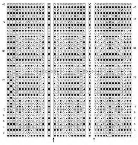 Схема вязания ажурная туника с разрезами по бокам раздел вязание спицами для женщин кофты спицами женские