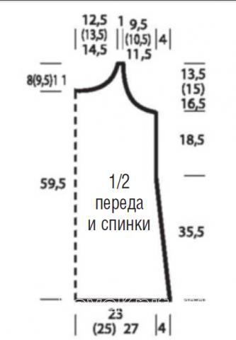 Схема вязания ажурная туника без рукавов из меланжевой пряжи раздел вязание спицами для женщин кофты спицами женские