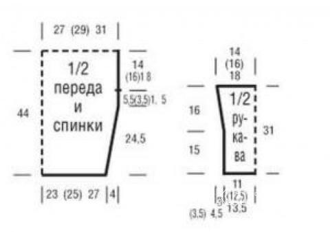 Схема вязания ажурный джемпер с кокеткой  раздел вязание спицами для женщин кофты спицами женские