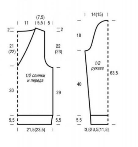 Схема вязания ажурный джемпер с v-образным вырезом раздел вязание спицами для женщин кофты спицами женские
