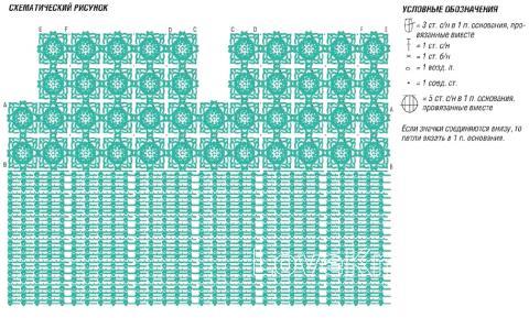 Схема вязания ажурный топ с цветами раздел вязание спицами для женщин кофты спицами женские