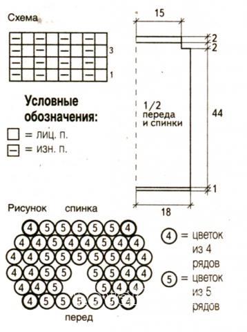 Схема вязания белый топ с ажурным узором на горловине раздел вязание спицами для женщин кофты спицами женские