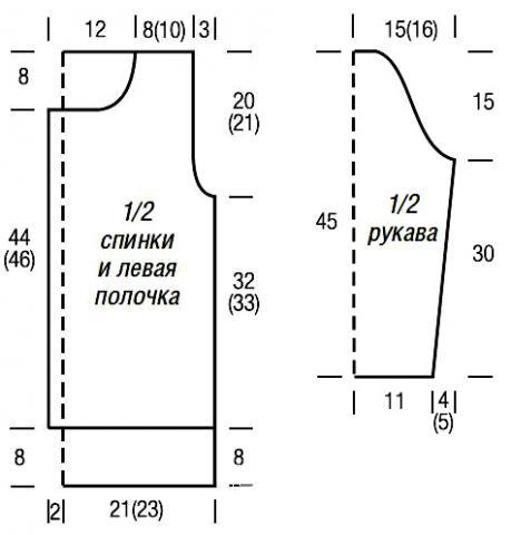 Схема вязания белый жакет с узором из спущенных петель раздел вязание спицами для женщин кофты спицами женские