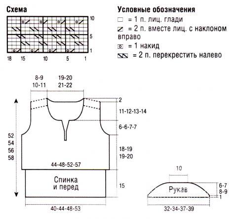 Схема вязания бежевый топ с короткими рукавами раздел вязание спицами для женщин кофты спицами женские
