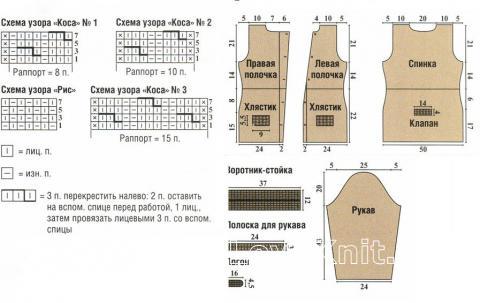 Схема вязания бежевый жакет в стиле милитари раздел вязание спицами для женщин кофты спицами женские