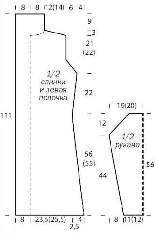 Схема вязания безразмерный удлиненный кардиган без застежек раздел вязание спицами для женщин кофты спицами женские