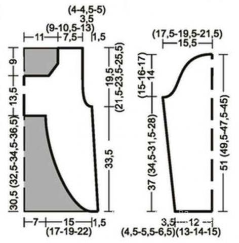 Схема вязания болеро с асимметричной длиной на шнуровке раздел вязание спицами для женщин кофты спицами женские