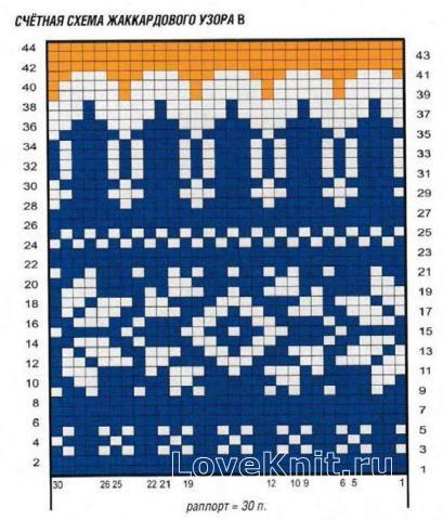Схема вязания цветной свитер со снежинками раздел вязание спицами для женщин кофты спицами женские