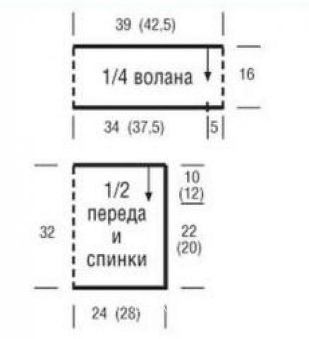 Схема вязания цветной топ с оборкой раздел вязание спицами для женщин кофты спицами женские
