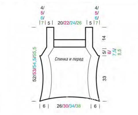 Схема вязания цветной топ с обработкой жемчужным узором раздел вязание спицами для женщин кофты спицами женские