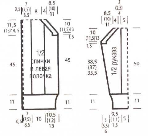 Схема вязания длинный кардиган с крупным узором раздел вязание спицами для женщин кофты спицами женские