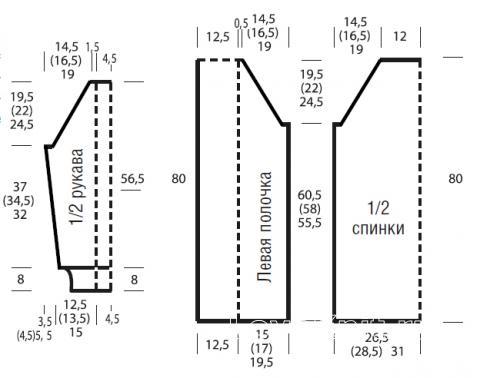 Схема вязания длинный кардиган с планками из «кос» раздел вязание спицами для женщин кофты спицами женские