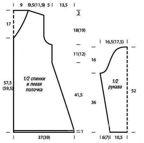 Схема вязания длинный кардиган с воланами  раздел вязание спицами для женщин кофты спицами женские