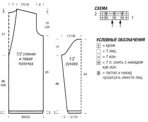 Схема вязания длинный кардиган без застежек с полупатентным узором раздел вязание спицами для женщин кофты спицами женские