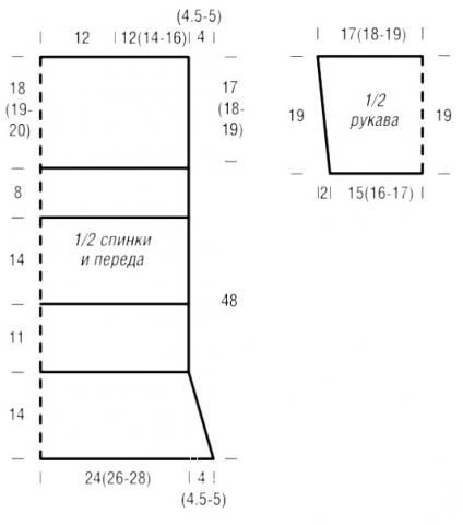 Схема вязания длинный полосатый пуловер с рукавом 3\4 раздел вязание спицами для женщин кофты спицами женские