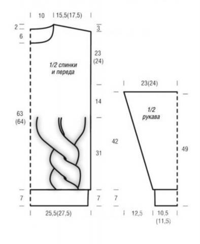 Схема вязания длинный пуловер-платье с разрезом раздел вязание спицами для женщин кофты спицами женские