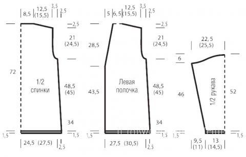 Схема вязания длинный жакет с ажурным узором на пуговицах раздел вязание спицами для женщин кофты спицами женские