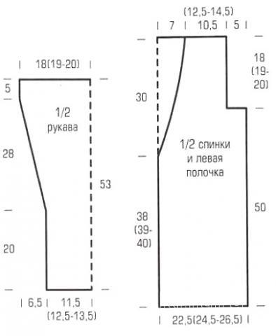 Схема вязания длинный жакет с полупатентным узором раздел вязание спицами для женщин кофты спицами женские