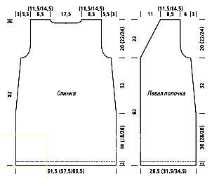 Схема вязания длинный жакет без рукавов раздел вязание спицами для женщин кофты спицами женские