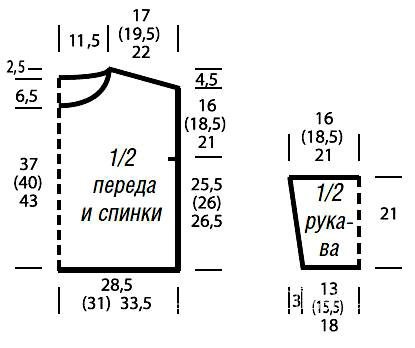 Схема вязания двухцветный джемпер с ажурными рукавами раздел вязание спицами для женщин кофты спицами женские