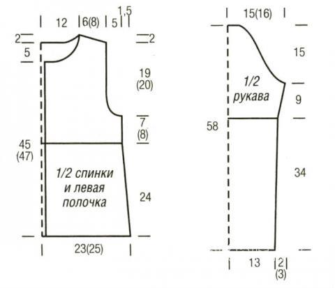 Схема вязания двухцветный жакет на пуговицах раздел вязание спицами для женщин кофты спицами женские