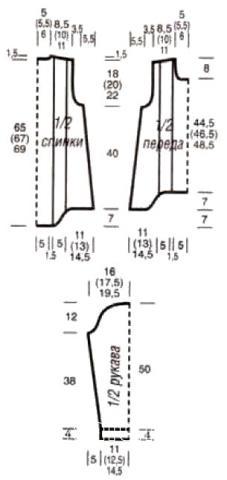 Схема вязания джемпер с бахромой и рельефным узором раздел вязание спицами для женщин кофты спицами женские