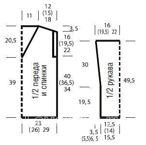 Схема вязания джемпер c v-образным вырезом и косами раздел вязание спицами для женщин кофты спицами женские