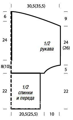 Схема вязания джемпер с глубоким  v-образной горловиной раздел вязание спицами для женщин кофты спицами женские