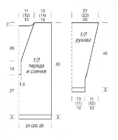 Схема вязания джемпер с глубоким вырезом с пуговицами раздел вязание спицами для женщин кофты спицами женские