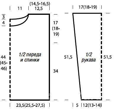 Схема вязания джемпер с горизонтальными полосами раздел вязание спицами для женщин кофты спицами женские