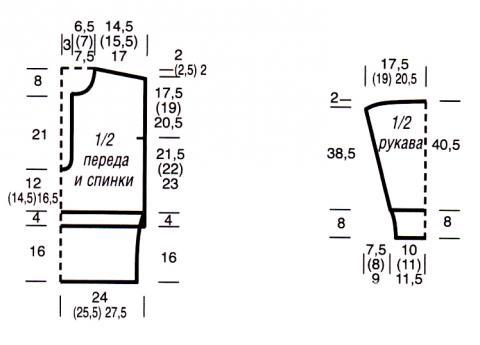 Схема вязания джемпер с капюшоном и широкой резинкой на талии раздел вязание спицами для женщин кофты спицами женские