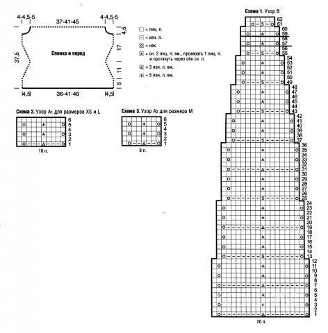Схема вязания джемпер с кокеткой раздел вязание спицами для женщин кофты спицами женские