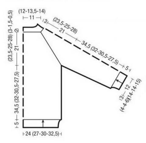 Схема вязания джемпер с кокеткой узором зигзаг раздел вязание спицами для женщин кофты спицами женские